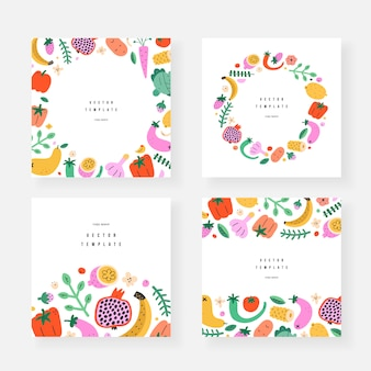 Fruit and vegetable template banners