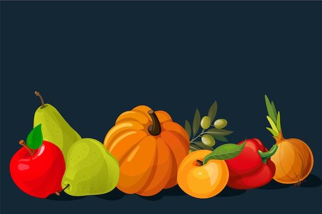 Disegno di sfondo di frutta e verdura