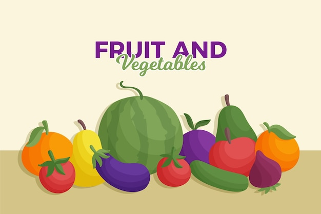Fruit and vegetables background front view