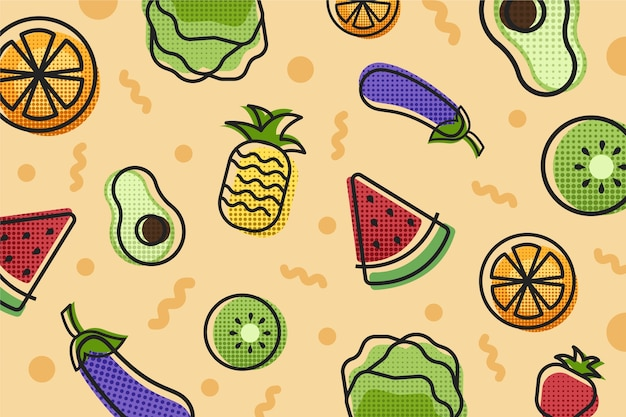 Fruit and vegetables background style