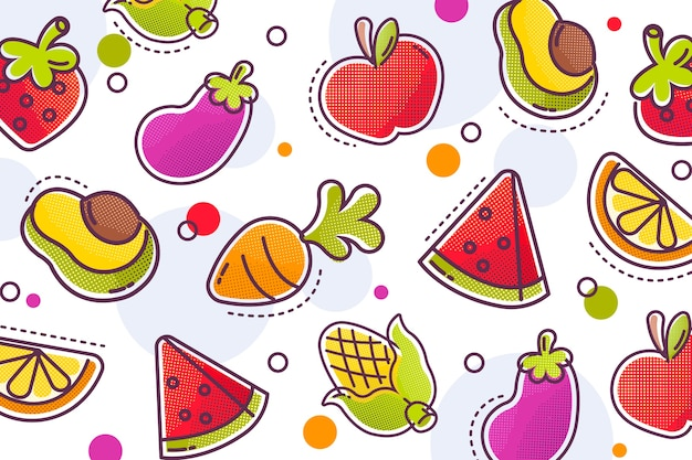Fruit and vegetables background with colourful halftone