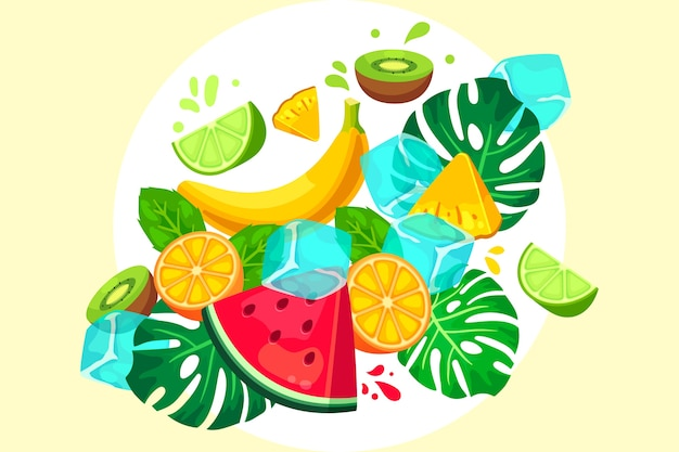 Fruit and vegetables background with leaves