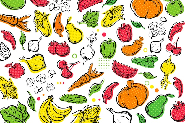 Fruit and vegetables halftone background cocnept