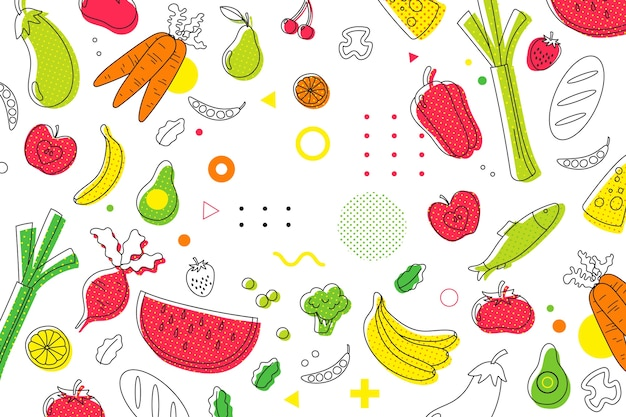 Fruit and vegetables halftone background