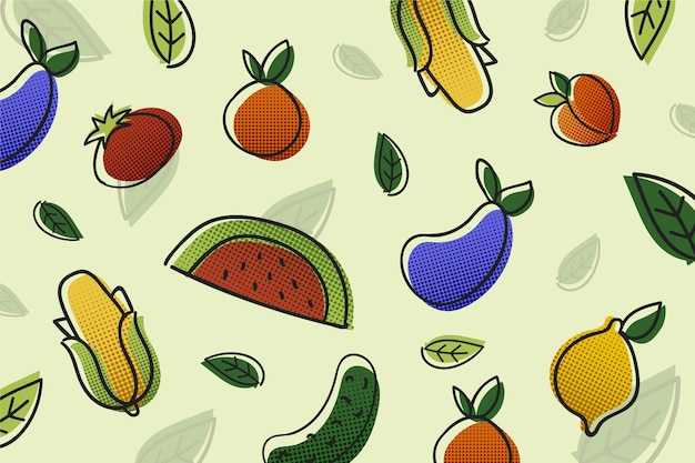 Fruit and vegetables hand drawn design