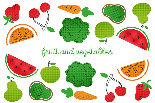 Fruit and vegetables hand drawn style