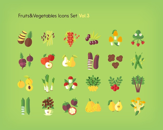Fruit and vegetables icons set.   illustration.