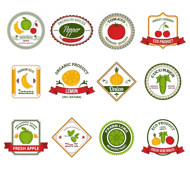 Fruit vegetables labels set color