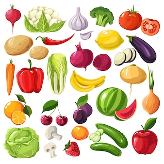 Fruit and vegetables, organic ingredients, useful meal