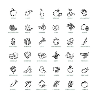 Fruit and vegetables outline vector icons