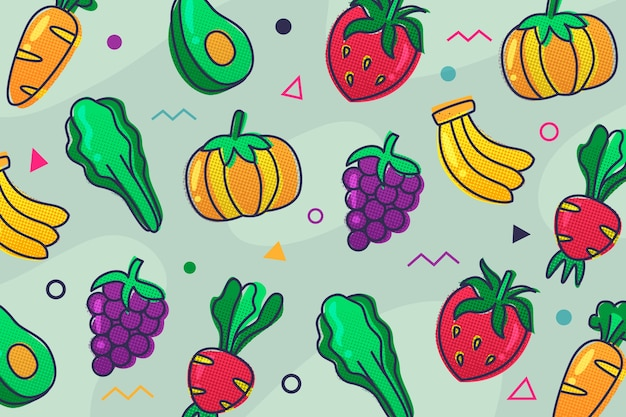 Fruit and vegetables outline wallpaper theme
