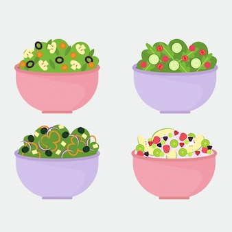 Fruit and vegetables salad in bowls