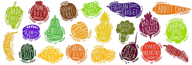 Fruit and vegetables set silhouettes with lettering. isolated objects on white . fruit and vegetables logo or element .