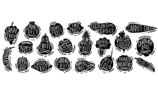 Fruit and vegetables set silhouettes with lettering.