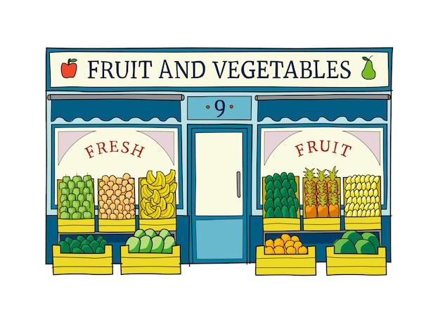 Fruit and vegetables shop front illustration