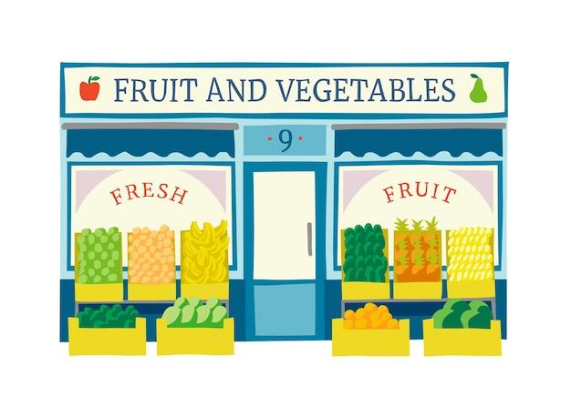 Fruit and vegetables shop front vector illustration