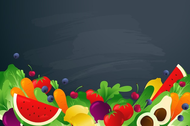 Fruit and veggies on dark copy space background