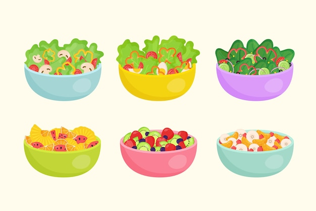 Fruit and veggies salad in bowls