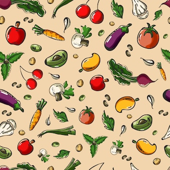 Fruit and veggies seamless background.