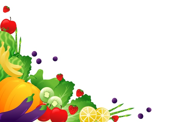 Fruit and veggies on white copy space background
