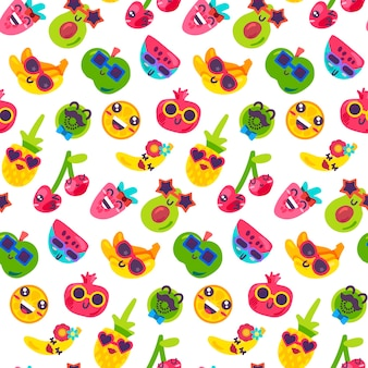 Fruit vitamin party food seamless pattern vector. smiling strawberry and apple, banana and avocado, orange citrus and pineapple, cherry and kiwi, watermelon and garnet wearing sunglasses illustration