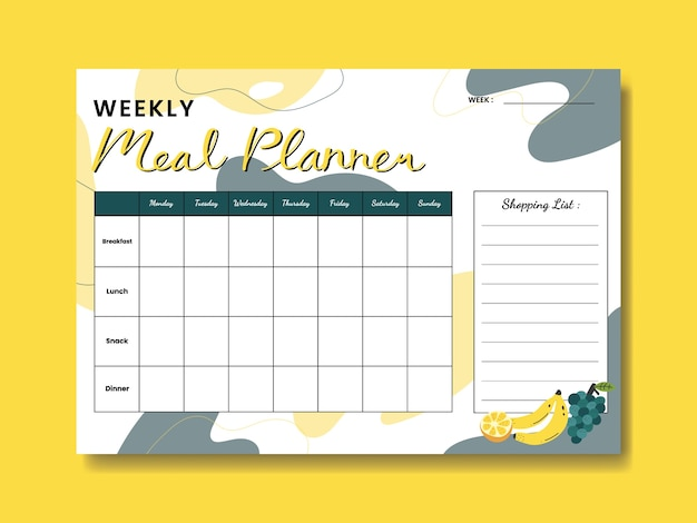 Fruit weekly meal planner with fruit illustration