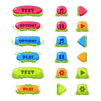 Fruitey cartoon buttons, set
