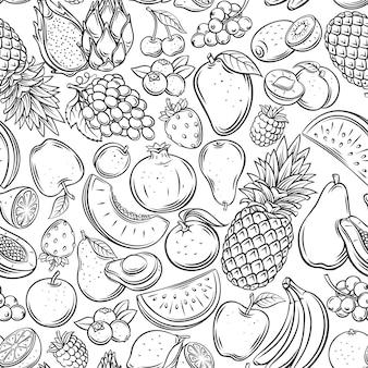 과일과 열매는 매끄러운 패턴을 설명합니다. 그려진 단색 라즈베리, 아보카도, 포도, 복숭아, 전체, 절반, 체리, 망고, 수박 조각이 있는 배경. 귤, 레몬, 살구 등