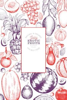 Фрукты и ягоды шаблон. нарисованная рукой иллюстрация тропических плодоовощей. выгравированный стиль фруктов. ретро экзотическая еда баннер.