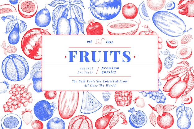 フルーツとベリーのテンプレート。手描きの熱帯果物のイラスト。
