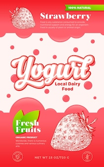果物とベリーのヨーグルトラベルテンプレート。抽象的なベクトル乳製品包装デザインのレイアウト。泡と手描きのイチゴスケッチシルエットの背景とモダンなタイポグラフィバナー。孤立。