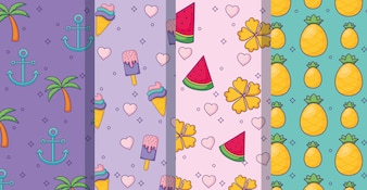 Fruits and ice creams patterns