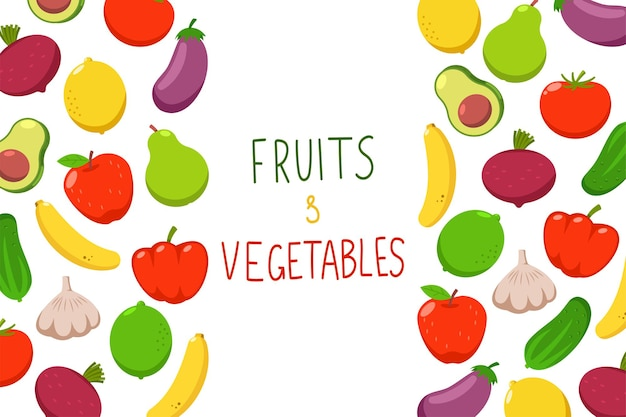 과일과 야채 만화 배경
