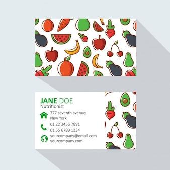 Фрукты и овощи визитные карточки