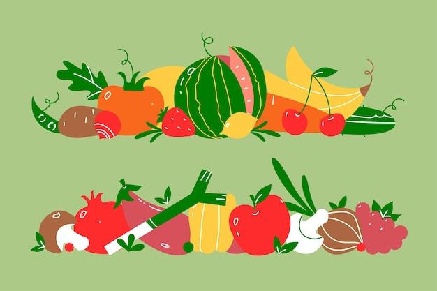 果物と野菜の落書きセット。落書きセット。手描きのベジタリアンフードまたはビーガン栄養または食事メニュースイカマンゴーバナナとチェリー
