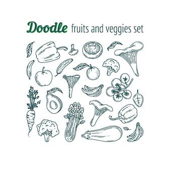 Фрукты и овощи каракули набор продуктов питания вегетарианские продукты супермаркета