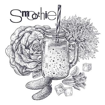飲料の準備のための果物と野菜健康的なダイエット食品スムージー