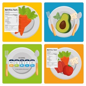 Группа фруктов и овощей с фактами питания