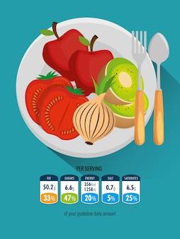 Группа фруктов и овощей Premium векторы
