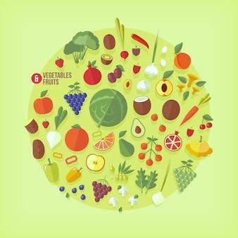 Коллекция иконок фрукты и овощи. современный стиль.