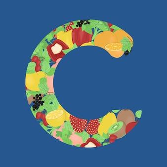 Фрукты и овощи в форме буквы c сезонные витамины векторное изображение в плоском стиле