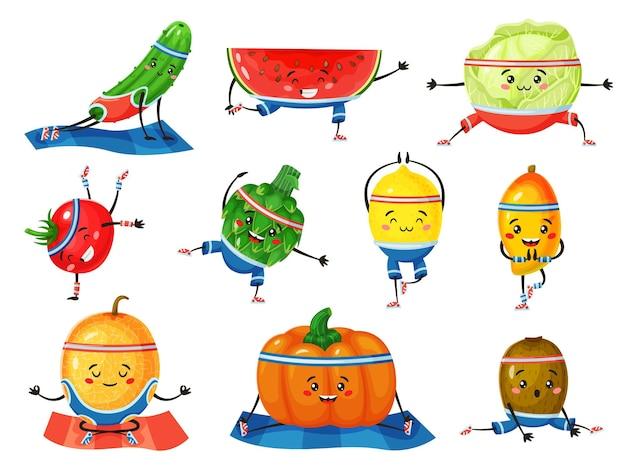 ヨガの果物と野菜は、フィットネスをしている健康なキャラクターを瞑想するかわいいメロンとレモンをポーズします