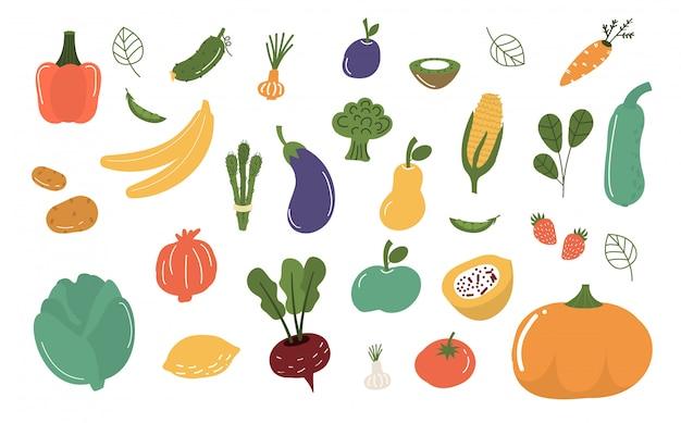 Фрукты и овощи изолированные иллюстрации.