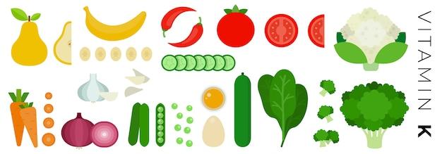 Фрукты и овощи, изолированные на белом фоне