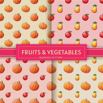 Фрукты и овощи. бесшовные шаблоны с иллюстрациями тыквы, яблоки и груши.