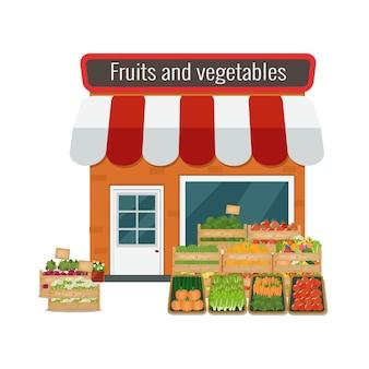 果物と野菜の店。平らな。