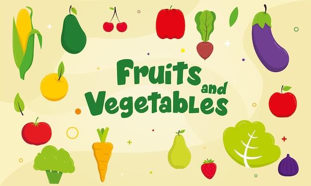 Фрукты и овощи векторный фон