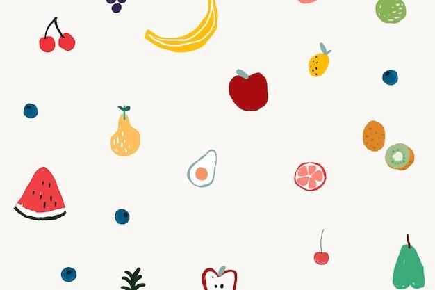 과일 배경 바탕 화면 배경 무늬, 귀여운 벡터