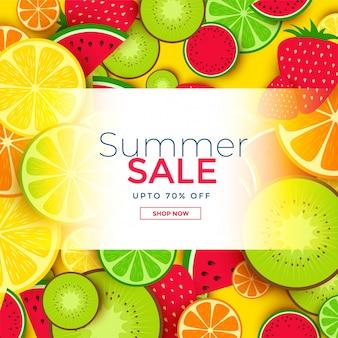 여름 세일 과일 배경