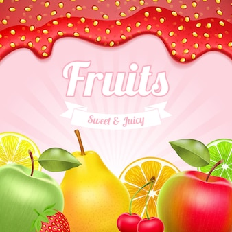 Fruits background with strawberry jam border on top.